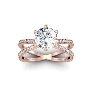Modern X Band 2 1/4ct TDW Solitaire Engagement Ring with 48 Side Diamonds in 14k Rose Gold (H-I, I1-