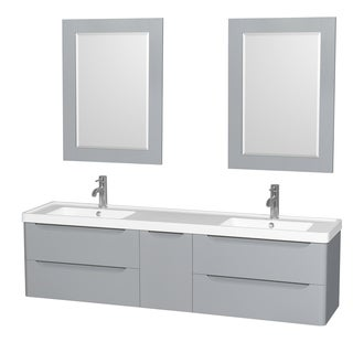Wyndham Collection Murano 72-inch Acrylic-Resin Integrated Sink Countertop Double Vanity with 24-inch Mirrors