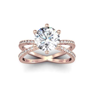 Modern X Band 2.25 Carat Solitaire Engagement Ring With 48 Side Diamonds in 14K Rose Gold (H-I, I1-I