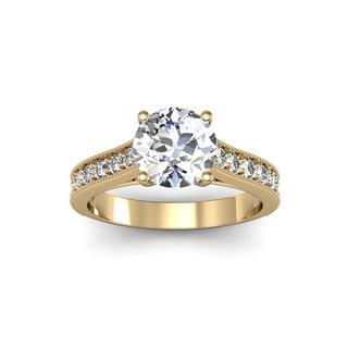 14k Yellow Gold 2ct. Solitaire Diamond Engagement Ring with 1 1/2ct. Clarity Enhanced Center Diamond - White H-I