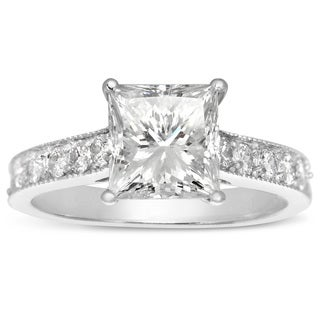 14k White Gold 1 1/2ct. Diamond Engagement Ring with 1ct. Clarity Enhanced Princess-cut Center Diamo - White H-I