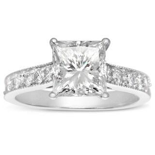 14k White Gold 1 1/2ct. Diamond Engagement Ring with 1ct. Clarity Enhanced Princess-cut Center Diamo - White H-I