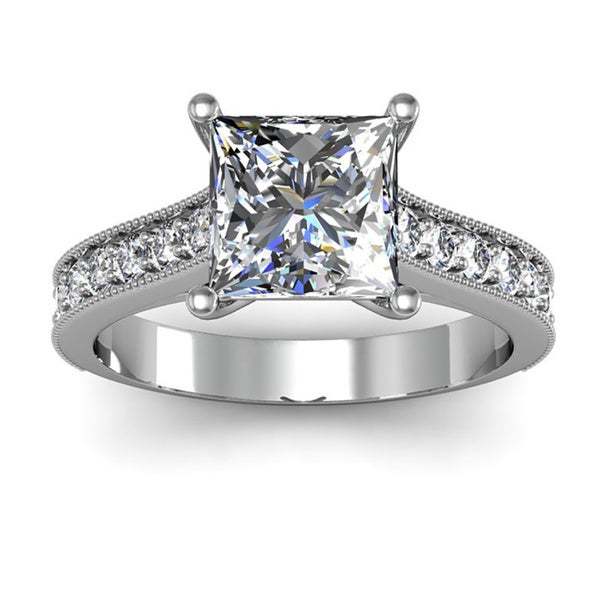 14k White Gold 2 1 2ct Diamond Engagement Ring with 2ct Clarity Enhanced Pr