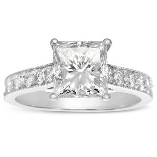 14k White Gold 2 1/2ct TDW Princess-cut Solitaire Engagement Ring (H-I, I1-I2)