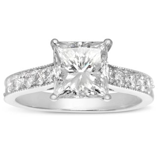 14k White Gold 2 1/2ct. Diamond Engagement Ring with 2ct. Clarity Enhanced Princess-cut Center Diamo - White H-I