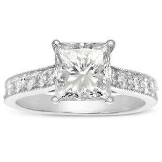 14k White Gold 2 1/2ct. Diamond Engagement Ring with 2ct. Clarity Enhanced Princess-cut Center Diamo - White H-I|https://ak1.ostkcdn.com/images/products/11547617/P18492599.jpg?impolicy=medium