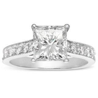 14k White Gold 2 1/2ct. Diamond Engagement Ring with 2ct. Clarity Enhanced Princess-cut Center Diamo - White H-I