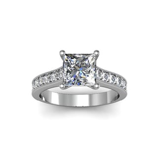 14k White Gold 2ct. Diamond Engagement Ring with 1 1/2ct. Clarity Enhanced Princess-cut Center Diamo - White H-I