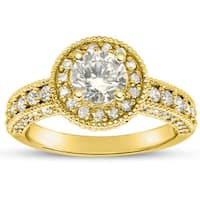 14k Yellow Gold 2ct. Diamond Engagement Ring with 1 1/2ct. Clarity Enhanced Center Diamond - White H-I