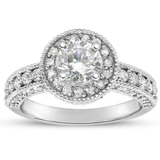 1 1/2ct TDW Classic Engagement Ring with 1ct Center Diamond In 14k White Gold (H-I, I1-I2)