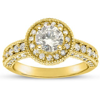 1 1/2ct TDW Classic Engagement Ring with 1ct Center Diamond In 14k Yellow Gold (H-I, I1-I2)