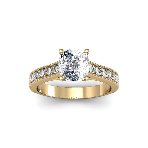1 1 2ct TDW Solitaire Engagement Ring with 1ct Cushion Cut Center Diamond In