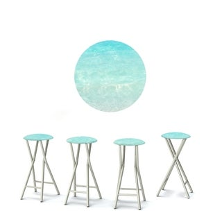 Best of Times Set of 4 Padded Bar Stools; Island Life