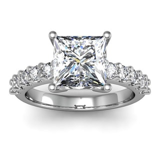 2 1/3ct TDW Traditional Diamond Engagement Ring with 2ct Center Princess Cut Solitaire In 14k White