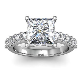14k White Gold 2 3/10ct. Diamond Engagement Ring with 2ct. Clarity Enhanced Princess-cut Center Diam - White H-I