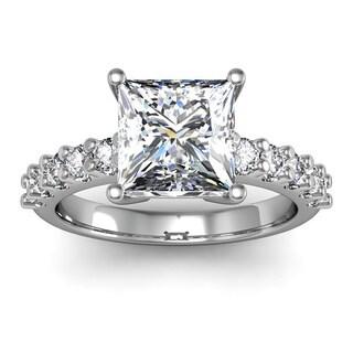 14k White Gold 2 3/10ct. Diamond Engagement Ring with 2ct. Clarity Enhanced Princess-cut Center Diam - White H-I