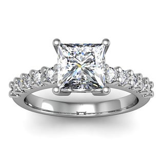 1 1/3ct TDW Traditional Diamond Engagement Ring with 1ct Center Princess Cut Solitaire In 14k White