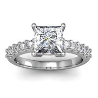 14k White Gold 1 3/10ct. Diamond Engagement Ring with 1ct. Clarity Enhanced Princess-cut Center Diam - White H-I