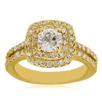 14k Yelllow Gold 2ct Halo Engagement Ring with 1ct Cushion-cut Clarity Enhanced Center Diamond - White H-I