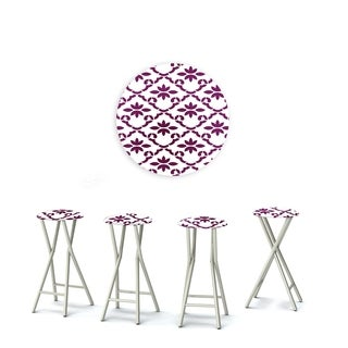 Best of Times Set of 4 Padded Bar Stools; Garden Party (Option: Puruple & White)