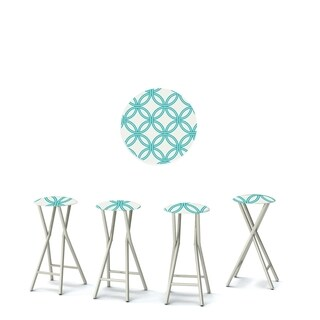 Best of Times Set of 4 Padded Bar Stools; Eternity Circles