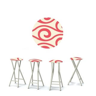 Best of Times Set of 4 Padded Bar Stools; Waves