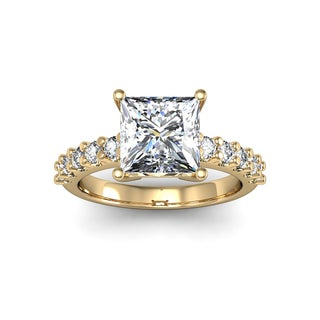 2 1/3ct TDW Traditional Diamond Engagement Ring with 2ct Center Princess Cut Solitaire In 14k Yellow