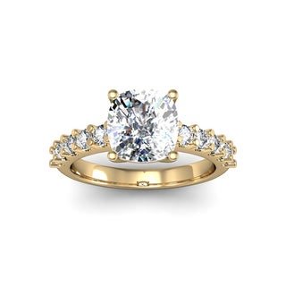 14k Yellow Gold 2 3/10ct. Diamond Engagement Ring with 2ct. Clarity Enhanced Cushion-cut Center Diam - White H-I