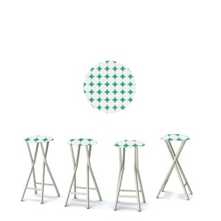 Best of Times Set of 4 Padded Bar Stools; Diamonds & Dots