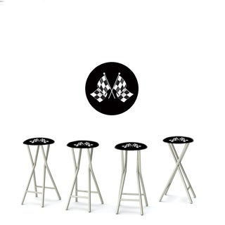 Best of Times Set of 4 Padded Bar Stools; Racing Checkered Flag