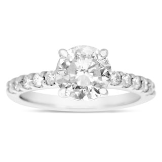 1 8/10ct TDW Traditional Diamond Engagement Ring with 1 1/2ct Center Round Solitaire In 14k White Go