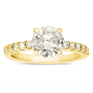 1 8/10ct TDW Traditional Diamond Engagement Ring with 1 1/2ct Center Round Solitaire In 14k Yellow G