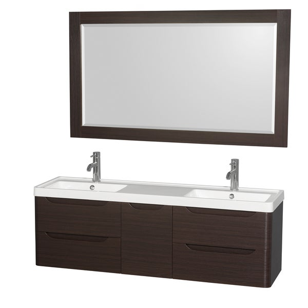 Wyndham Murano Collection 60 Inch Acrylic Resin Integrated Sink Countertop Double Vanity With 58