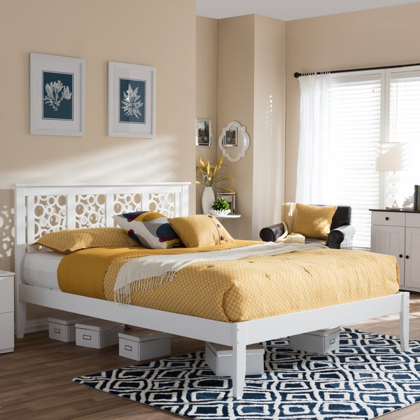 Baxton Studio Celine Modern and Contemporary Geometric Pattern White Solid Wood Platform Bed