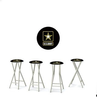 Best of Times Set of 4 Padded Bar Stools; Military
