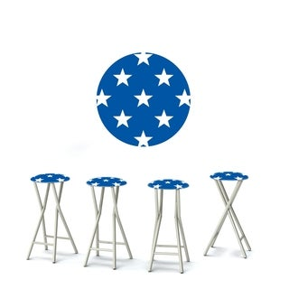 Best of Times Set of 4 Padded Bar Stools; Patriotic