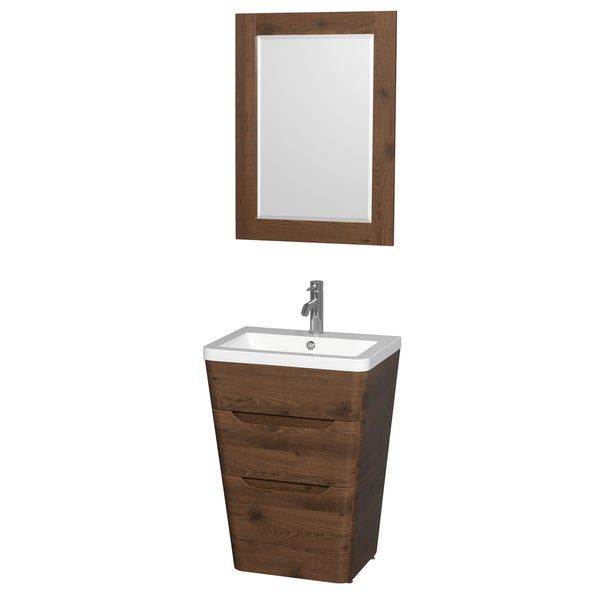 Wyndham Caprice Collection 24 Inch Acrylic Resin Countertop Integrated Sink  Pedestal Vanity With 24