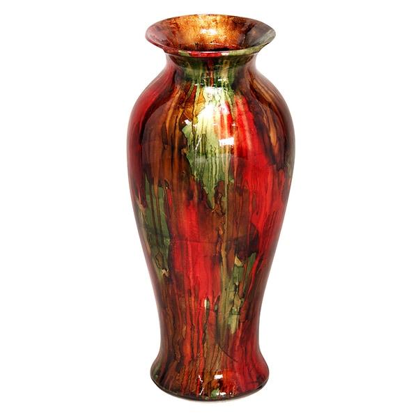 Shop Heather Ann Round Tapered Glazed Ceramic Vase Free Shipping