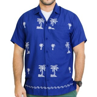 La Leela Smooth Rayon White Embroidered Palm Tree Camp Button Down Royal Blue Shirt Men