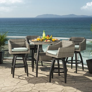 Cannes Spa Blue Outdoor Bar Stools and Table (5 piece set)