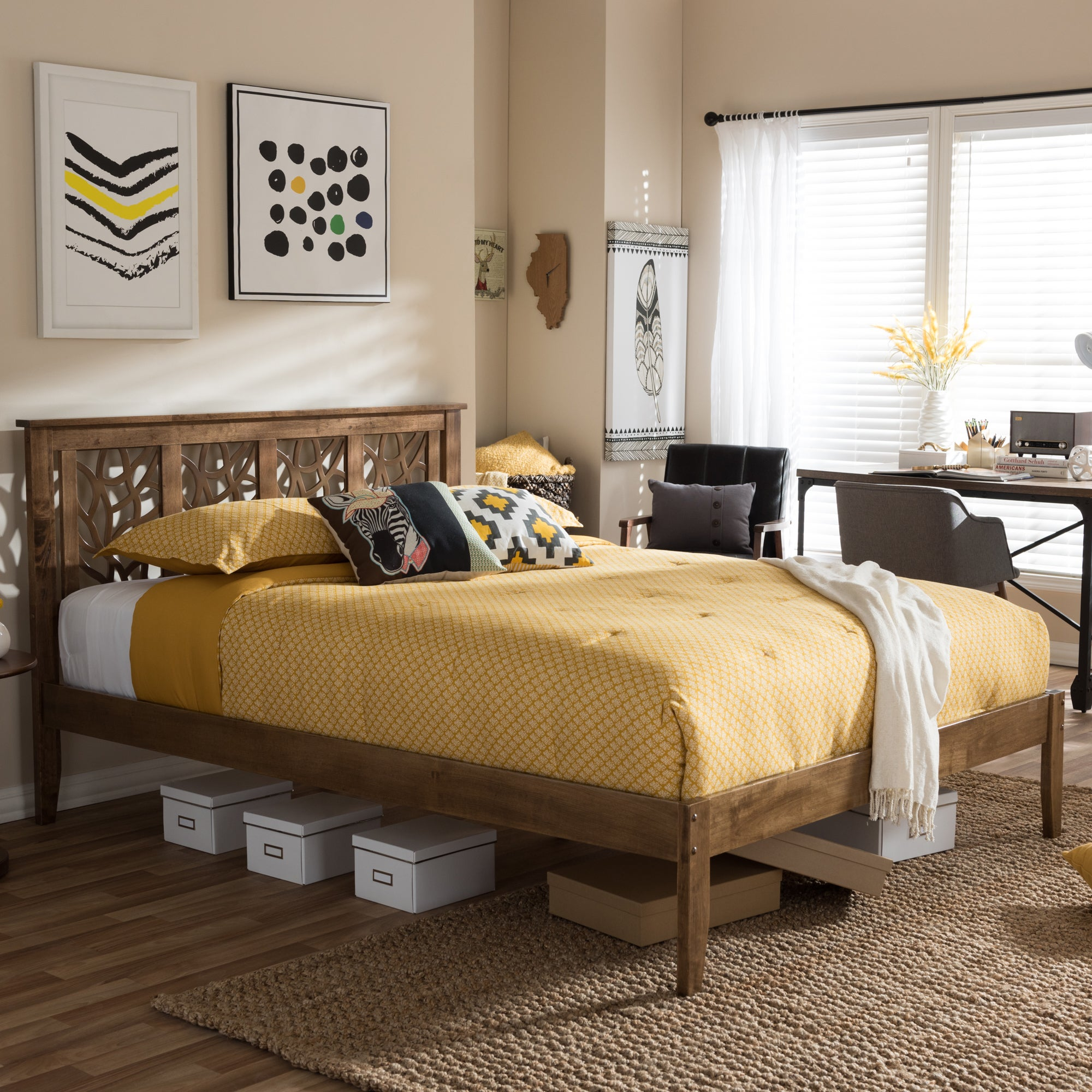 Contemporary Wood Platform Bed by Baxton Studio (Queen), ...