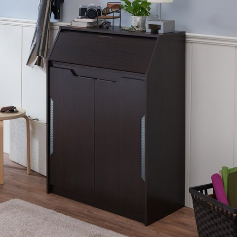 Furniture of America Delma Modern Espresso 4-shelf Shoe Cabinet