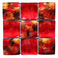 Heather Ann 9-panel Solid Square Concave/Convex Foiled Glazed Wall Decor