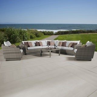 Cannes Moroccan Cream Corner Sectional and Club Chair Outdoor Furniture Set (9 piece)