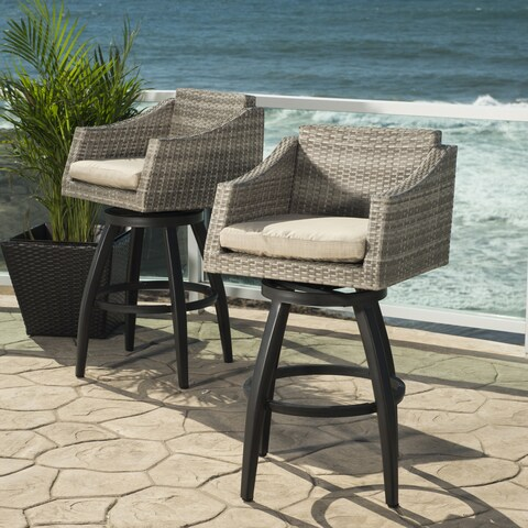 Cannes Slate Grey Outdoor Swivel Bar Stools (Set of 2)