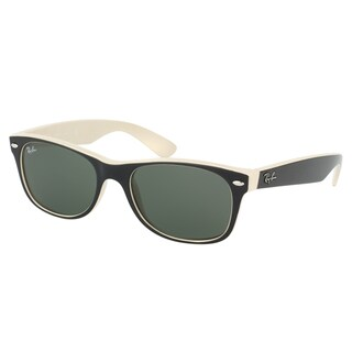 Ray-Ban New Wayfarer RB 2132 875 Black on Beige Frame Green Lens Sunglasses