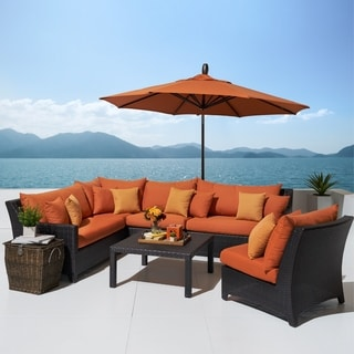 Deco Tikka Orange Outdoor Sectional and Table with Umbrella (6 piece)