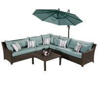 Deco Bliss Blue Outdoor Sectional and Table with Umbrella (6 piece set)