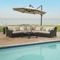 Deco Slate Grey Sectional and Table with Umbrella (6 piece set)
