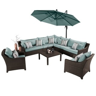 Deco Bliss Blue Outdoor Sectional and Club Set with Umbrella (9 piece set)